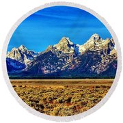 Round Beach Towel featuring the photograph Teton Panorama by Benjamin Yeager