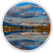 Teton Panoramic Reflections At Oxbow Bend Round Beach Towel