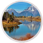 Round Beach Towel featuring the photograph Teton Tranquility by Benjamin Yeager