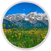 Teton Peaks And Flowers Round Beach Towel