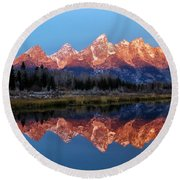 Round Beach Towel featuring the photograph Teton Sunrise by Benjamin Yeager