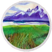Teton View Round Beach Towel