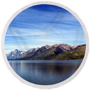 Tetons By The Lake Round Beach Towel by Ausra Huntington nee Paulauskaite