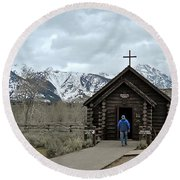 Tetons Chapel Of The Transfiguration Round Beach Towel