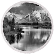 Tetons In Black And White Round Beach Towel