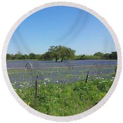 Texas Blue Bonnets Round Beach Towel by Shawn Marlow