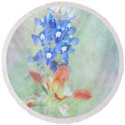 Texas Bluebonnet And Indian Paintbrush Round Beach Towel