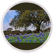 Texas Bluebonnet Field Round Beach Towel