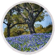 Texas Bluebonnet Hill Round Beach Towel