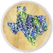 Texas Blues Texas Map Round Beach Towel