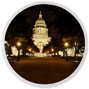 Round Beach Towel featuring the photograph Texas Capitol At Night by Dave Files
