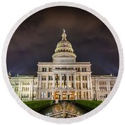 Texas Capitol Building Round Beach Towel