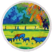 Texas Cows At Sunset Oil Painting Bertram Poole Apr14 Round Beach Towel