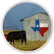 Texas Farm With Texas Logo Round Beach Towel