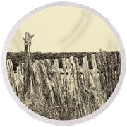 Texas Fence In Sepia Round Beach Towel