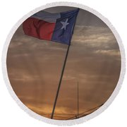 Texas Flag Flying From A Fishing Boat At Sunrise Round Beach Towel