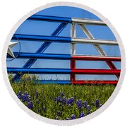 Texas Flag Painted Gate With Blue Bonnets Round Beach Towel