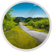 Texas Hill Country Road Round Beach Towel