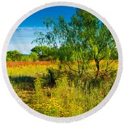 Texas Hill Country Wildflowers Round Beach Towel
