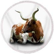 Texas Longhorn Bull Round Beach Towel by Charles Beeler