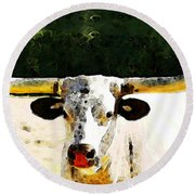 Texas Longhorn - Bull Cow Round Beach Towel by Sharon Cummings