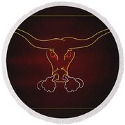 Texas Longhorn Photoart 1 Round Beach Towel