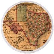 Texas Map Art - Vintage Antique Map Of Texas Round Beach Towel