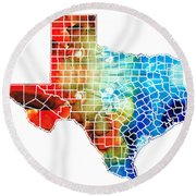 Texas Map - Counties By Sharon Cummings Round Beach Towel