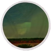 Round Beach Towel featuring the photograph Texas Microburst by Ed Sweeney