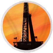 Texas Oil Rig Round Beach Towel