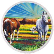 Texas Quarter Horses Round Beach Towel
