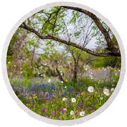 Texas Roadside Wildflowers 732 Round Beach Towel