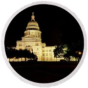 Round Beach Towel featuring the photograph Texas State Capitol by Dave Files