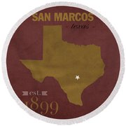 Texas State University Bobcats San Marcos College Town State Map Pillow Round Beach Towel