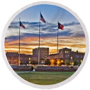 Round Beach Towel featuring the photograph Memorial Circle At Sunset by Mae Wertz