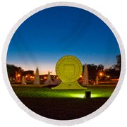 Round Beach Towel featuring the photograph Texas Tech Seal At Night by Mae Wertz