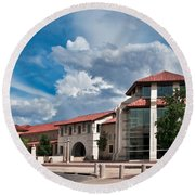 Round Beach Towel featuring the photograph Texas Tech Student Union by Mae Wertz