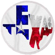 Texas Typographic Map Flag Round Beach Towel by Ayse Deniz
