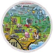 Texas Usa Round Beach Towel by Kevin Middleton