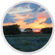 Texas Wildflower Sunset  Round Beach Towel