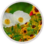 Texas Wildflowers Round Beach Towel by Lynn Bauer