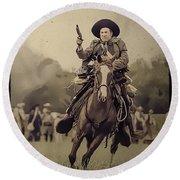 Texican Cavalry Round Beach Towel by Kim Henderson