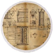 Textile Machine Round Beach Towel by James Christopher Hill