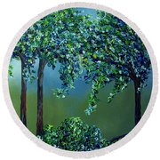 Round Beach Towel featuring the painting Texture Trees by Eloise Schneider