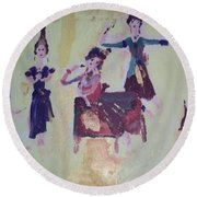 Round Beach Towel featuring the painting Thai Dance by Judith Desrosiers