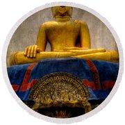 Thai Golden Buddha Round Beach Towel