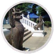 Thai Temple Steps Round Beach Towel