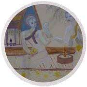 Round Beach Towel featuring the painting Thailand by Avonelle Kelsey