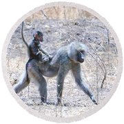 Thanks For The Ride Olive Baboon Round Beach Towel