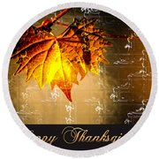 Thanksgiving Card Round Beach Towel